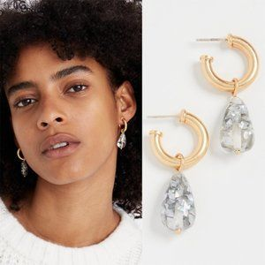 MADEWELL Glitter Drop Hoop Earrings NWT
